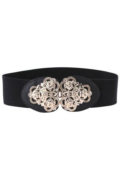 Flower Metal Buckle Elastic Belt