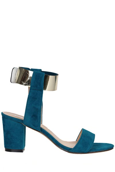 Suede Chunky Heel Metallic Sandals