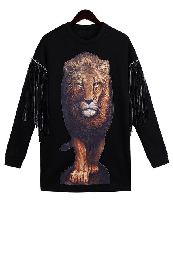 Lion Pattern Long Sleeve Sweatshirt