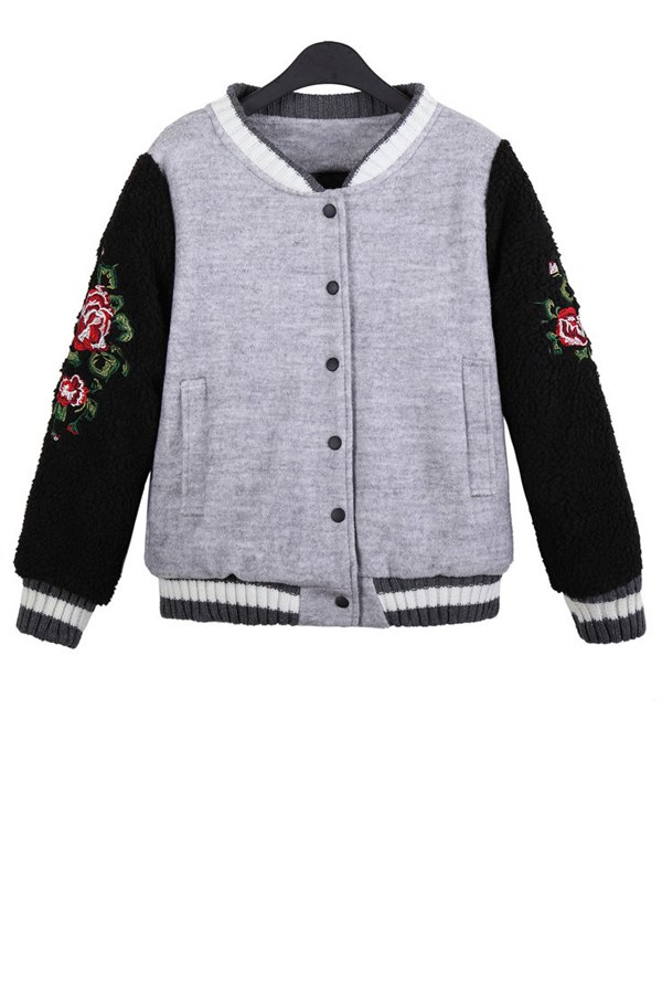 Floral Embroidery Color Block Jacket - GRAY ONE SIZE(FIT SIZE XS TO M)