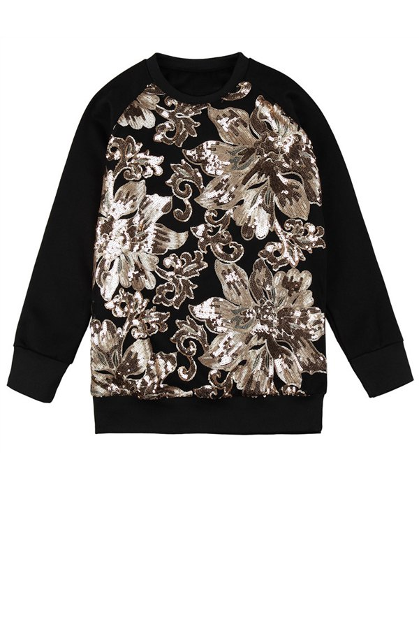 Sequins Floral Pattern Sweatshirt - BLACK ONE SIZE(FIT SIZE XS TO M)