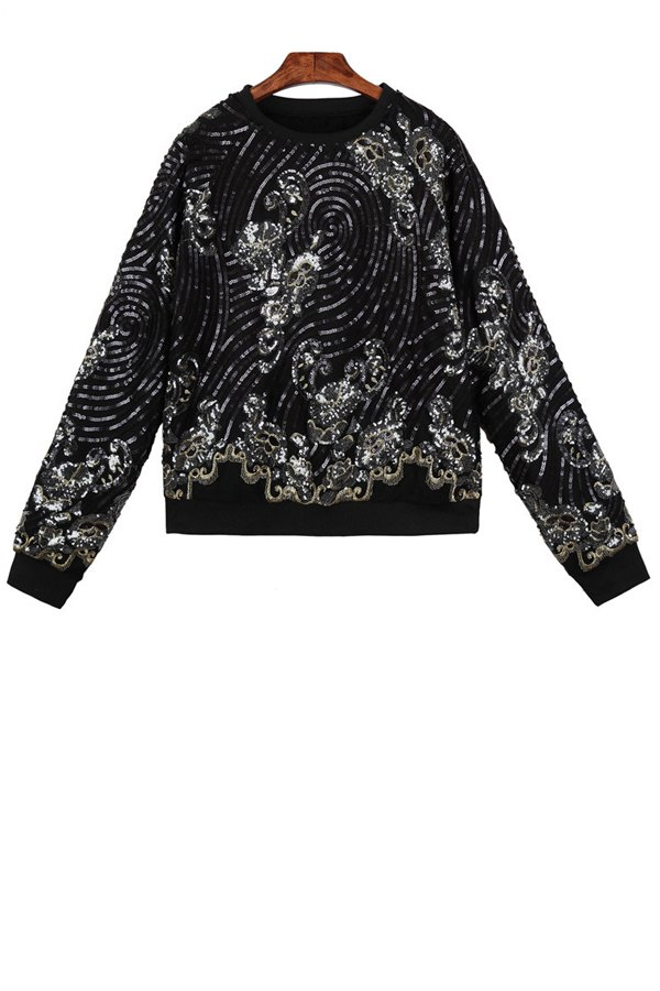 Sequins Long Sleeve Sweatshirt - BLACK ONE SIZE(FIT SIZE XS TO M)