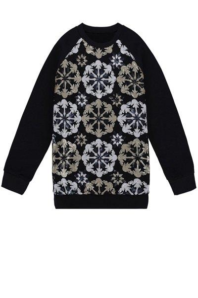 Sequins Flower Pattern Sweatshirt