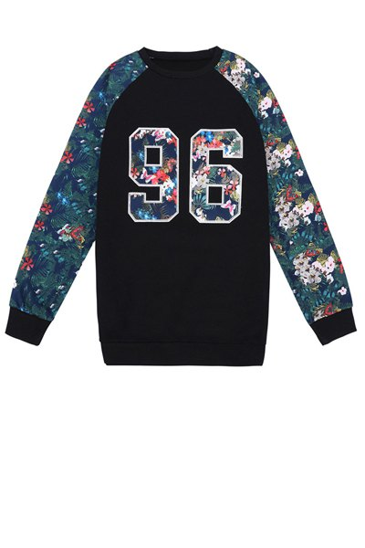 Number Pattern Floral Splicing Sweatshirt - BLACK ONE SIZE(FIT SIZE XS TO M)