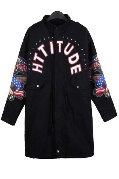 Letter Print Eagle Embroidery Coat - BLACK ONE SIZE(FIT SIZE XS TO M)