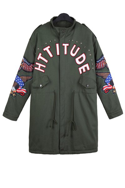 Letter Print Eagle Embroidery Coat 112829802