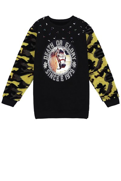 Horse Print Camouflage Splicing Sweatshirt - BLACK ONE SIZE(FIT SIZE XS TO M)