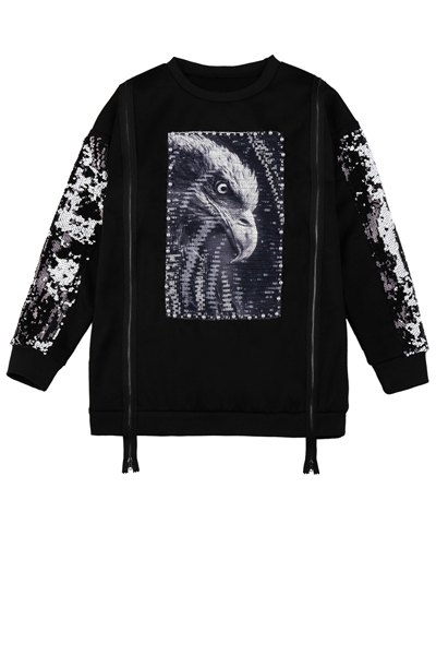 Sequins Eagle Pattern Zipper Sweatshirt