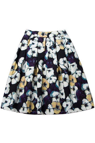 A-Line High Waisted Full Floral Print Skirt