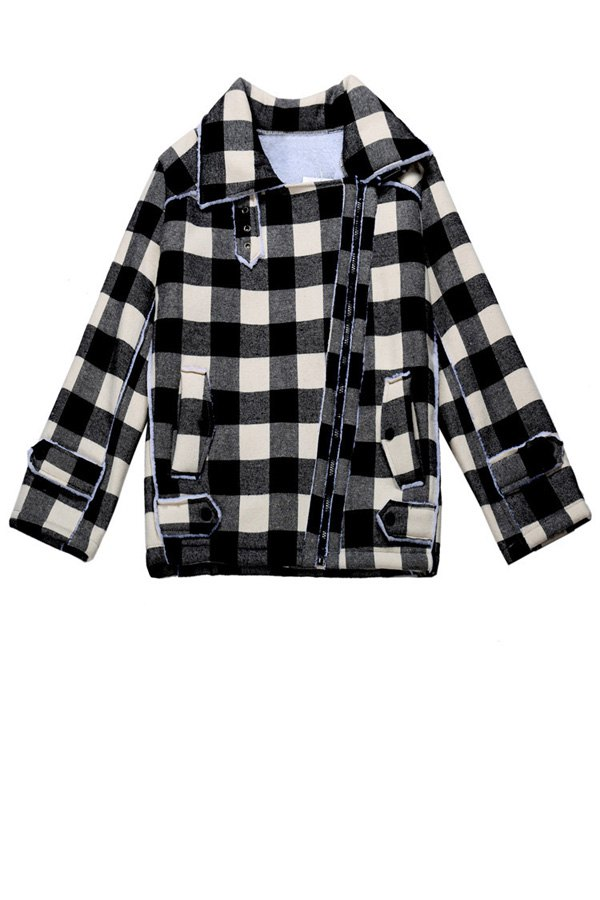 Plaid Turn-Down Collar Jacket - WHITE ONE SIZE(FIT SIZE XS TO M)