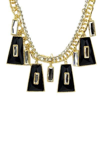 Faux Gemstone Geometric Pendant Necklace - BLACK