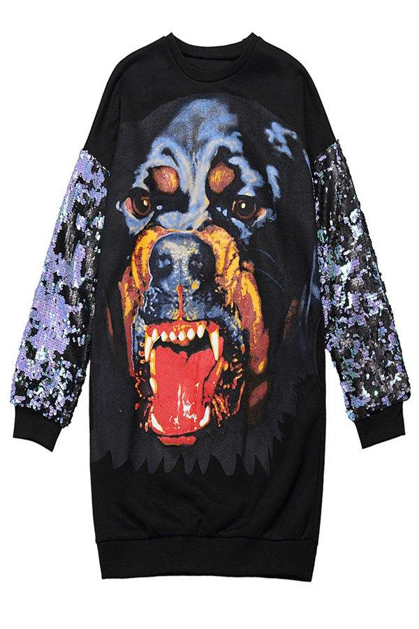 Dog Print Sequins Splicing Sweatshirt