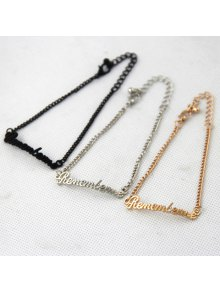 Chic Solid Color Letter Remember Me Embellished Women's Bracelet  (ONE PIECE)