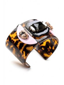 Faux Gem Leopard Print Bracelet - LEOPARD