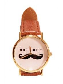 Mustache Letter Pattern Watch