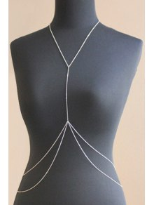 Double Layered Body Chain - Silver