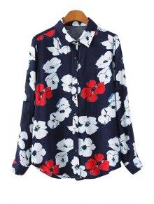 Flower Print Long Sleeve Shirt