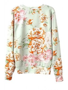 Letter and Floral Print Sweatshirt