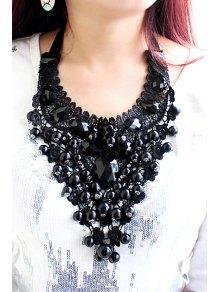 Beads Embellished Necklace - BLACK