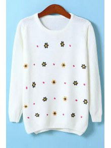 Flower Embroidery Jewel Neck Sweater