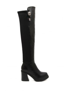 Black Metallic Chunky Heel Thigh Boots