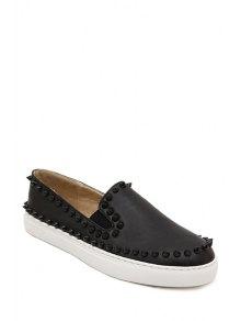 Black Round Toe Rivets Flat Shoes