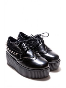 Rivets Hollow Out Platform Shoes