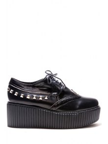 Rivets Hollow Out Platform Shoes - Black 35