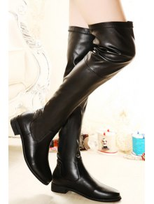 Black Stitching Over The Knee Boots