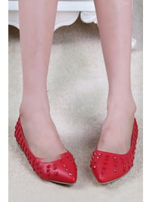 Pointed Toe Rivets Flat Shoes