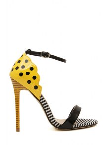 Patent Leather Stiletto Heel Dot Sandals