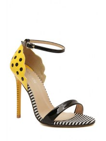 Patent Leather Stiletto Heel Dot Sandals - YELLOW 35