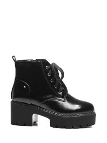 Platform Round Toe Lace-Up Ankle Boots - Black 36