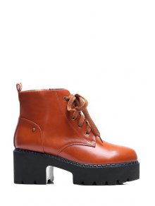 Platform Round Toe Lace-Up Ankle Boots - Brown 37