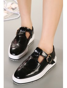 Hollow Out Square Toe Flat Shoes - BLACK 35