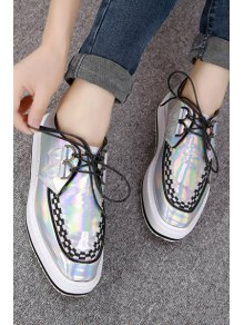 Square Toe Weaving Lace-Up Flat Shoes