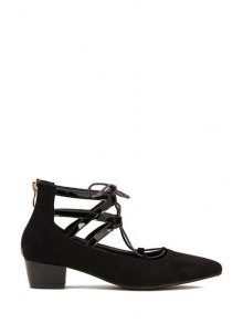 Hollow Out Pointed Toe Lace-Up Pumps - Black 37