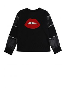 Lip Pattern Long Sleeve Sweatshirt