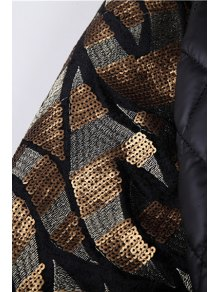 PU Leather Sequins Splicing Jacket