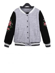 Floral Embroidery Color Block Jacket