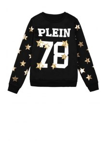 Star Letter and Number Pattern Sweatshirt