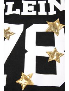 Star Letter and Number Pattern Sweatshirt - BLACK ONE SIZE(FIT SIZE XS TO M)