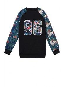 Number Pattern Floral Splicing Sweatshirt