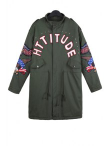 Letter Print Eagle Embroidery Coat