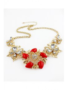 Gemstone Flower Pendant Necklace - RED