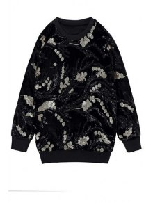 Long Sleeve Sequins Sweatshirt