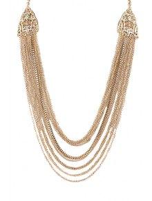 Multi-Layered Tassels Pattern Pendant Necklace
