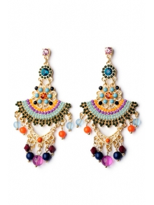 Pair of Special Shape Beads Embellished Earrings