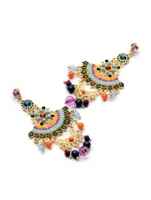 Pair of Special Shape Beads Embellished Earrings - COLORMIX