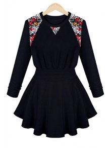 Floral Lace Long Sleeve Dress - Cadetblue S